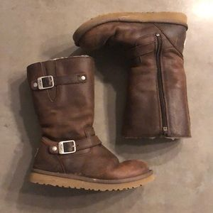 Ugg Brown Shearling Moto Boots Size 4